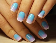 Accurate nails, Beautiful nail colors, Exquisite nails, Festive nails, Fresh nails, Gradient nail art, Ideas of gradient nails, Multi-colored french manicure