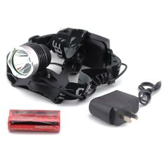econoLED Outdoor Waterproof 1600lm Cree Xm-l T6 LED Headlamp   2 X Securitying 18650 Rechargeable Battery   Charger US Best seller ** Want additional info? Click on the image.
