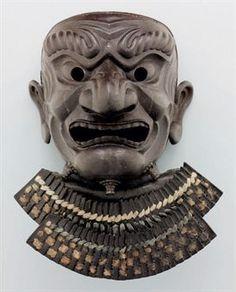 An armor face mask (somen)  EDO PERIOD (18TH-19TH CENTURY), SIGNED KASHU JU MITSUHISA SAKU