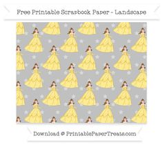 Free Landscape Silver Star Large Belle Pattern Paper - Beauty and the Beast