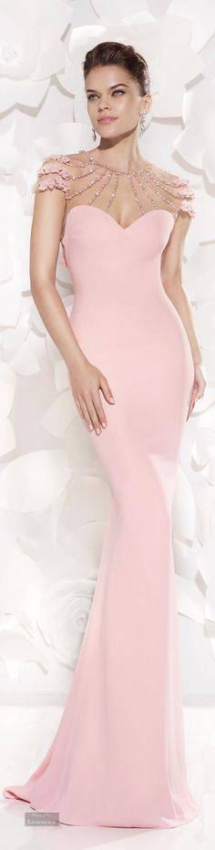 Tarik Ediz.Evening dress》What a stunning dress! That pale pink is gorgeous, with the adornments at the shoulders ♡
