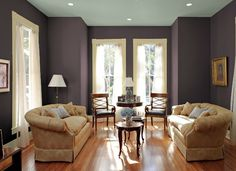 BM Woodlawn Blue for Office Brown Living Room Paint, Living Room Paint Design, Living Room Colors, My Living Room, Living Room Decor, Brown Paint, Living Room Paint Inspiration, Woodlawn Blue Benjamin Moore, Interior Wall Colors