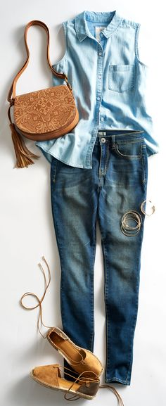 Denim is having a serious moment right now. Layer on the all-American classic by mixing washes like a light chambray shirt with a dark-rinse jean. Featured product includes: SO sleeveless chambray shirt, Mudd high-waist jeans, Apt. 9 espadrilles, SONOMA Goods for Life crossbody saddlebag. Find your summer style at Kohl's.