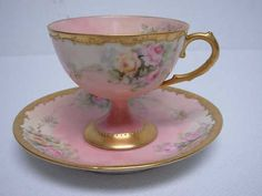 Antique France Limoges H Painted Footed Teacup Tea Cup Saucer w Flowers Gold