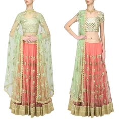 Presenting Pink & Mint Mirror Worked Lehenga With Beige Blouse Get this look for just 3100 INR To buy WhatsApp @ +91 9054562754