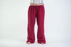 Thai Organic Cotton Drawstring Pants Red – Harem Pants