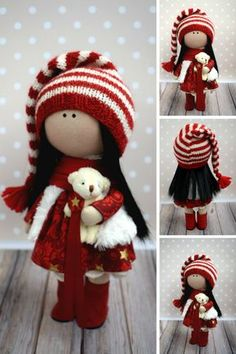 Winter Tilda Doll Red Fabric Doll Handmade Textile Doll Rag Baby Doll Soft Unique Doll Poupée Muñecas Bambole di stoffa Art Doll by Olga G This is handmade cloth doll created by Master Olga G (Vinnitsa, Ukraine). Doll is 26 cm (10,2 inch) tall and made of only quality materials. Doll can be a great present for your children, family, colleages or friends. Style of doll easily helps to use such doll as home decoration and interior design.