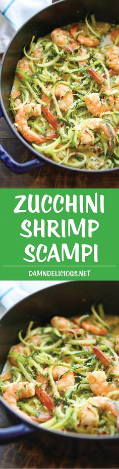 Zucchini Shrimp Scampi - Traditional shrimp scampi made into a low-carb dish with zucchini noodles. It's unbelievably easy, quick & healthy! 214.3 calories. Zoodle Recipes, Spiralizer Recipes, Fish Recipes, Seafood Recipes, Paleo Recipes, Low Carb Recipes, New Recipes, Cooking Recipes, Favorite Recipes