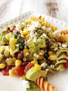 Fiesta Pasta Salad & Green Chile Lime Vinaigrette — The Skinny Fork