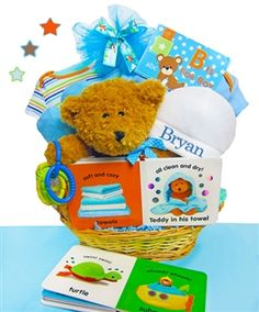 Safari friends personalized baby boy gift basket by gift baskets cashmere bunny personalized b is for boy gift basket the cashmere bunny personalized b is for boy gift basket is overflowing with newborn essentials that negle Image collections