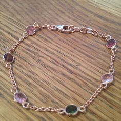 Tourmaline & Rose gold plated silver