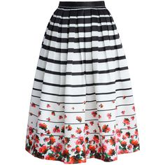 Chicwish Falling Roses Striped Printed Midi Skirt (135 BRL) ❤ liked on Polyvore featuring skirts, bottoms, saias, midi skirt, rose skirt, flower midi skirt, striped skirts, stripe midi skirt and flower skirt