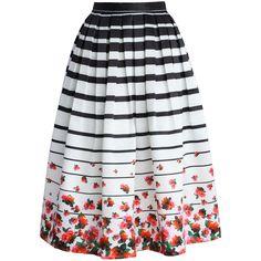 Chicwish Falling Roses Striped Printed Midi Skirt ($43) ❤ liked on Polyvore featuring skirts, bottoms, saias, midi skirt, rose skirt, calf length skirts, flower midi skirt and chicwish skirt
