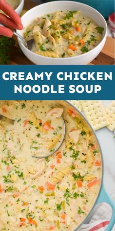 This Creamy Chicken Noodle Soup is THE BEST! Total comfort Food. Wheat Pasta Recipes, Yummy Pasta Recipes, Soup Recipes, Spicy Recipes, Dinner Recipes, Healthy Recipes, Different Chicken Recipes, Yummy Noodles, Easy Holiday Recipes