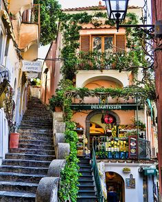 Shops stacked on top of one another with narrow stairs...