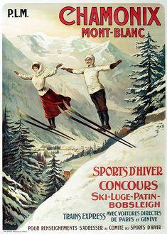 1910 France Chamonix Skiing PLM Travel Poster by Retro Graphics Ski Vintage, Vintage Ski Posters, Vintage Winter, Vintage Art, Retro Posters, French Vintage, Vintage Christmas, Telluride Colorado, Bobsleigh