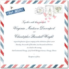 Air Mail:Red Lantern  Adorable invitations for a destination wedding or Europe themed wedding.