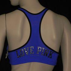 VICTORIAS SECRET PINK Yoga Bra Push Up racerback Cobalt blue/ black L