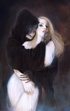 Brittany Jackson, Life and Death.  Death grim reaper Father Time scythe maiden girl woman dance danse macabre skull skeleton