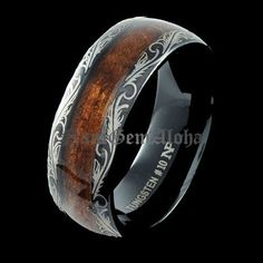 *****Koa Wood Ring Black Tungsten See if pattern can be celtic knot braid, any emerald settings possible??