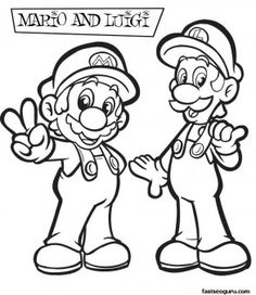 Printable Coloring pages Mario and Luigi Main characters Mario,Luigi,Koopa,Wario,Toad,Goomba,Princess Toadstool,Bowser,