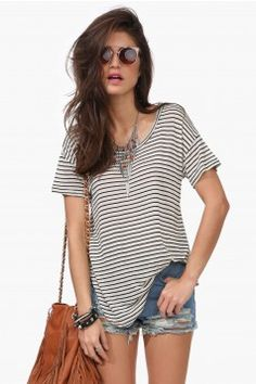 perfect slouchy striped tee
