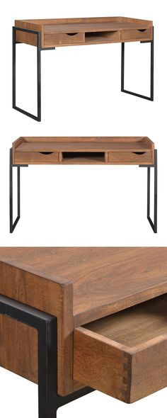Whether your days are spent composing creative manuscripts or doing computer work, you'll feel all-the-more inspired while stationed at this charming workspace. This Geneva Writing Desk features black ...  Find the Geneva Writing Desk, as seen in the The Industrial Equation Collection at http://dotandbo.com/collections/the-industrial-equation?utm_source=pinterest&utm_medium=organic&db_sku=116646