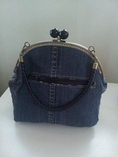 Denim purse hand bag from recycled jeans