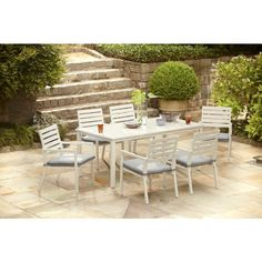 Stylish And Comfortable, This Hampton Bay Blue Springs Patio Dining Set  With Blue Dot Cushions Will Update Your Outdoor Decor.