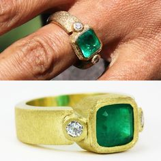 """Ranked as #4 from celebrities top 10 engagement rings in 2015 is """"Halle Berry's Engagement Ring"""". Set in a textured, hand forged, yellow gold setting, the ring's 3 carat Colombian emerald is flanked by two brilliant diamonds. We hand crafted the 18K piece (bottom ring) for one of our customers a very happy women indeed #emeraldring #emeraldstone #emeraldgreen #emeraldjewelry #emeraldjewellery #emeraldrings #emeraldcocktail #emeraldengagementring #colombianemerald #halleberry"""
