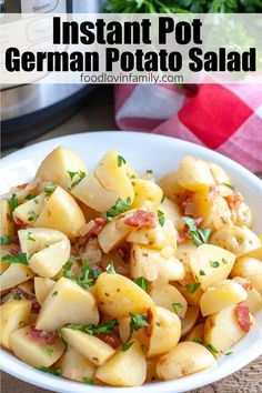 Instant Pot German Potato Salad can be made all in on pot. Made with potatoes, bacon, onion and a vinegar based dressing makes a delicious side dish for any meal. Lunches And Dinners, Family Meals, Instant Pot, Potato Salad, Slow Cooker, Side Dishes, Bacon, Dinner Recipes, Appetizers
