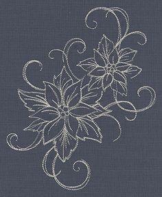 Touch of Tinsel - Poinsettias design (UT7283) from UrbanThreads.com