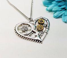 Steampunk Necklace Copper Necklace Heart Necklace Cogs | Etsy Steampunk Heart, Steampunk Necklace, Heart Jewelry, Resin Jewelry, Jewellery, Cardboard Jewelry Boxes, Heart Shaped Necklace, Copper Necklace, Personalized Jewelry
