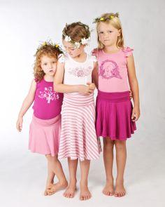 Girls Bamboo Twirl skirts and matching frill tops. Doodlebug Summer 2014 www.ilovedoodlebug.com.au
