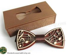 Wood bow tie Music wooden musical bowtie treble clef notes note artist show hand made gift present wedding party perfect original man Bow Tie Party, Gifts For An Artist, Wooden Bow Tie, Treble Clef, Wooden Case, Laser Engraving, Laser Cutting, Etsy, Gifts For Him