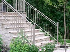 Exterior Railings – Dufferin Iron & Railings Wrought Iron Porch Railings, Exterior Stair Railing, Outdoor Stair Railing, Porch Stairs, Balcony Railing, Exterior Doors, Deck Railings, Stair Treads, Front Porch Steps