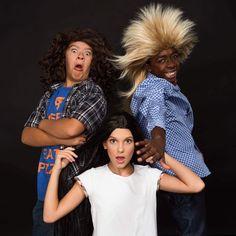 Stranger Things kids with wigs - Gaten Matarazzo, Millie Bobby Brown, Caleb McLaughlin
