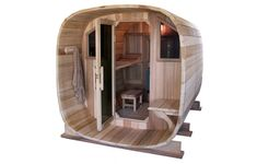 The interior Sauna areas and Porch Extension lengths are available in custom sizes and configurations. Description from redwoodsaunas.com. I searched for this on bing.com/images