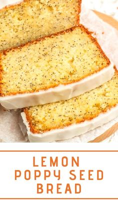 Lemon Poppy Seed Bread is studded with poppy seeds and topped with a lemon glaze! This simple lemon loaf cake recipe is so moist and tender and makes a great breakfast or dessert. Lemon Loaf Cake, Lemon Bread, Lemon Poppy Seed Loaf, Cake Recipes, Bread Recipes, Top Recipes, Lemon Dessert Recipes, Yummy Recipes, Recipies