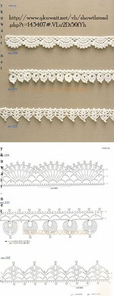 """diy_crafts-Crochet Lace Edging More by coleen """"Crochet Patterns Lace Crochet Lace Edging More Mehr"""", """"like about 3 inches wider"""", """"Handkerc Crochet Boarders, Crochet Edging Patterns, Crochet Lace Edging, Crochet Diagram, Crochet Chart, Crochet Trim, Filet Crochet, Diy Crochet, Crochet Designs"""