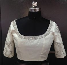 Custom fit pure raw silk blouse with silver zardosi embroidery   Etsy Zardosi Work Blouse, Pattu Saree Blouse Designs, Saree Blouse Patterns, White Saree Blouse, Indian Blouse, Indian Wear, White Blouse Designs, Bridal Blouse Designs, Blouse Neck Designs