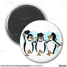 Cute Cartoon Graduating Penguins 2 Inch Round Magnet by #Just4Grad #gravityx9