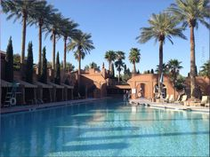 One of the pools with palms at the Westin Lake Las Vegas, Henderson, Nevada, USA