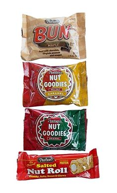 Pearson's Chocolate & Nut Nostalgia Candy Favorites 4 Flavor Variety Bundle: (2) Original Nut Goodies, (2) Sea Salt Caramel Nut Goodies, (2) Maple Buns, and (2) Salted Nut Rolls, 1.75-1.8 Oz. Ea.