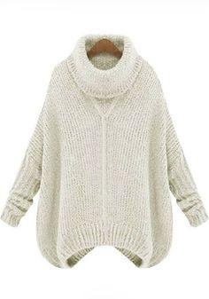 Beige Plain Irregular High Neck Pullover Sweater