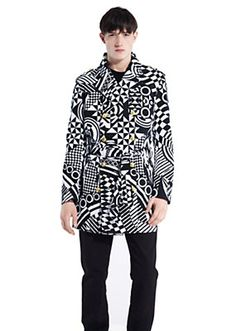 Versus Versace Men OP ART PRINT TRENCH. This is an unbelievable trench coat. Clearly flamboyant, I would only wear it on the rarest occasions! This is actually a bit over my level for casual wear, but if I owned I'd wear it.