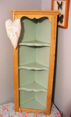 Shabby Chic Corner Cabinet | PINE/DUCK EGG BLUE SHABBY CHIC CORNER SHELF/DISPLAY CABINET - BATHROOM ...