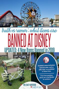 If you are heading to a Disney park, make sure you don't try to take in these 10 items. Plus items you think are banned, but are totally allowed! For vacations at Disneyland and Walt Disney World. Disneyland Vacation, Disneyland Tips, Walt Disney World Vacations, Disney Parks, Disney Travel, Disney Land, Disney Magic, Packing List For Disney, Disney Vacation Planning