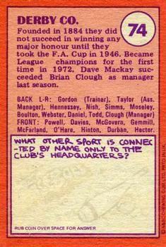 1974-75 A&BC Gum #74 Derby County Team Back