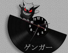 Pokemon Gengar - Vinyl Clock / Vinyl Record Wall Clock / Wall Watch LP / Black Home Decor, decoration
